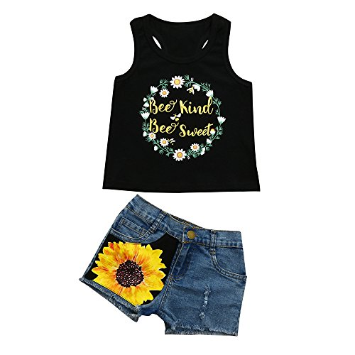 sunnymi 2 TLG Baby Mädchen Hirsch Strampler + Stirnband Outfits Kleidung Sommer Für 3-18 Monate (1PC Tops + 1PC Hosen (Sonnenblume), 24 Monat)