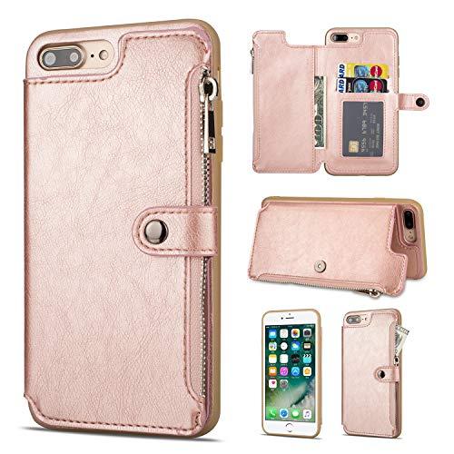 Shinyzone Hülle für iPhone 8 Plus/iPhone 7 Plus Hülle,Reißverschluss Brieftasche mit Kreditkarteninhaber und Geldtasche Magnetverschluss Standfunktion Leder Flip Back Schutzhülle-Roségold