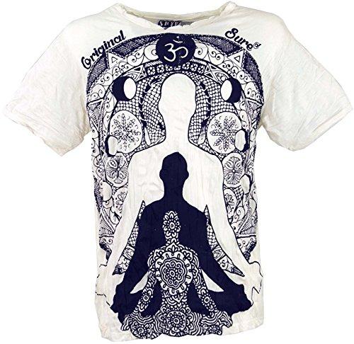 Guru-Shop Sure T-Shirt Meditation Buddha, Herren, Weiß, Baumwolle, Size:M, Bedrucktes Shirt Alternative Bekleidung