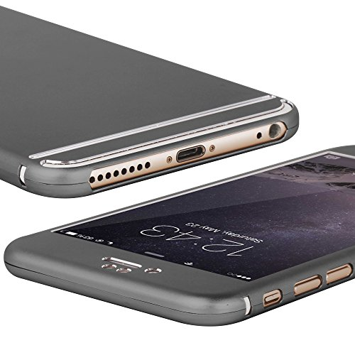Oats® Coque - Apple iPhone 6 Plus / 6s Plus Etui panoramique Housse de Protection avec protecteur d'écran en verre Protector Case Cover Bumper - en Gris Gris