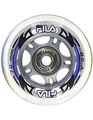 Fila Wheels 76 mm/82 a + ABEC5 + Aluminio Spacer ruedas de 6 mm, color blanco