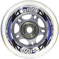 Fila Wheels 72mm/82a + ABEC5+ Aluminio Spacer Ruedas de 6mm, Color Blanco