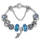 A TE® Armband Charm Engelsflügel Blau Glas Beads Damen Geschenk #JW-B98