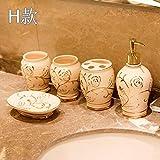 PatTheBot Badezimmer Zubehör Set Moderne Kunst 5 Stück Handmade Geschnitzt Goldene Blumen Relief Weiß China Keramik Zahnbürstenhalter, Tassen, Seifenspender, Gericht, Original Design Kreativ