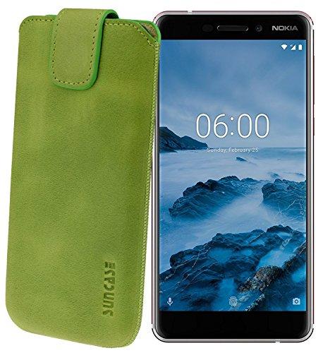 Suncase Original Etui Tasche für Nokia 6 (2018) | Nokia 6.1 *Lasche mit Rückzugfunktion* Handytasche Ledertasche Schutzhülle Case Hülle in Antik-Kiwi Grün