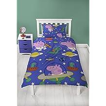 Peppa Pig George de cama con funda de almohada–dos cara diseño de espacio Planetas, microfibra, azul, Single