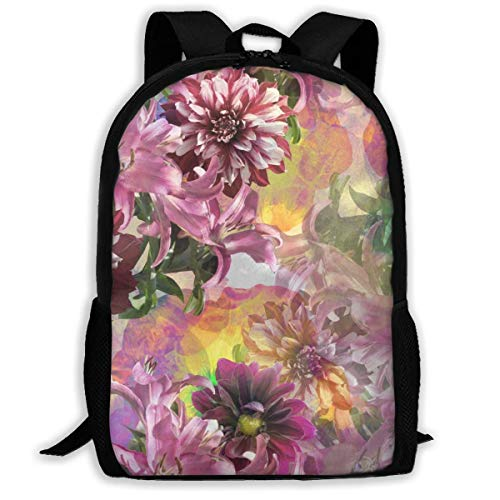 Nature Flowers Leaves Realistic Photo Collage Clip Art Casual Rucksack Ultra Light Adjustable Strap Unisex for Outdoor Travel -