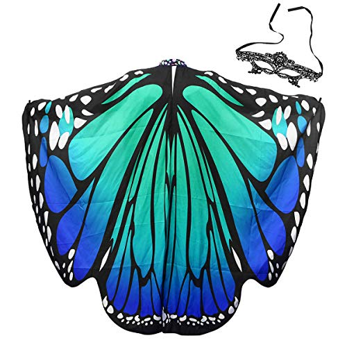 LIOOBO Bikini-Zubehör mit Maske, Damen weiches Gewebe Schmetterlingsflügel Schal Fee Damen Nymphe Pixie Halloween Cosplay Weihnachten Cosplay Kostüm Zubehör (Blau - Nymphe Fee Kostüm