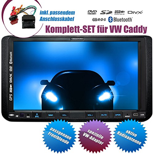2DIN Autoradio CREATONE CTN-9268D56 für VW Caddy (2003 - 2015) mit GPS Navigation, Bluetooth, Touchscreen, DVD-Player und USB/SD-Funktion