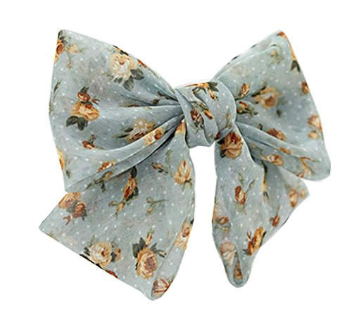 Clip élégant en mousseline de soie Bow Barrette Ponytail Vert Cheveux