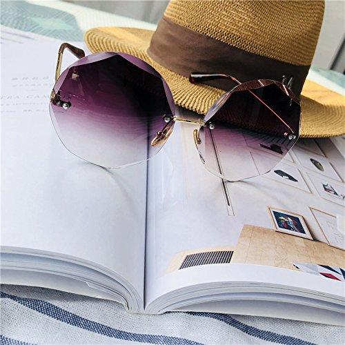 Sunyan Net Red Star, Polygon Sonnenbrille, Frau Gläser, Europäischen, Amerikanischen, Rahmenlose Sonnenbrille, Farbverlauf lila (Red Star Sonnenbrille)