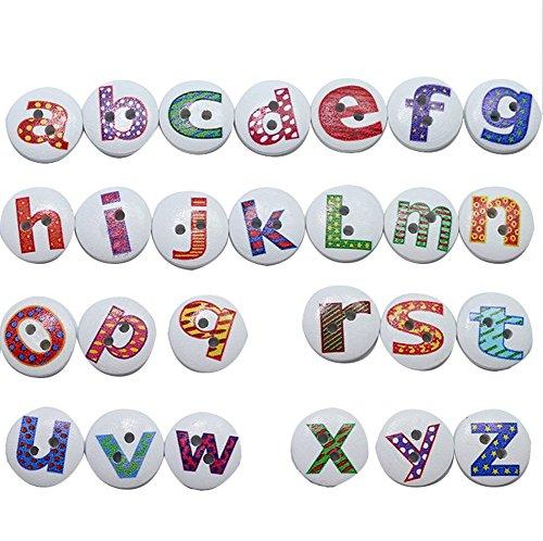 namgiy Holz-Knöpfe zum Nähen Basteln Handarbeiten Collage Stoffspielzeug Strick-Socken, 2Löcher, Rund, Weiß, 100Stück mit Buchstaben erhältlich