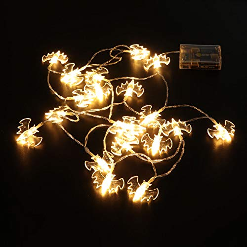 OUNONA Lichterkette Halloween LED Fairy Lights Indoor Outdoor Batteriebetriebene String Lichter Fledermaus Lichterkette 2m (Warmweiß) - Fairy Lichter Outdoor-string