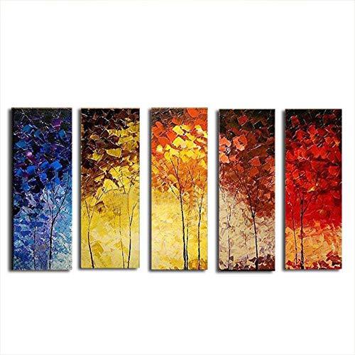 5 Partes Cuadro Moderno en Lienzo Diseño de árboles Coloridos Impresión en Calidad Photo Imagen Impresa en Lienzo Pintura Decorativa por Decoración Personalizado del Hogar Habitacion Salon Oficina Café Club Regalo