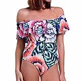 Damen Sexy Schulterfrei Volants Gepolsterter Badeanzug Bikini-Sets Blumen Muster Weiß S