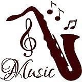 Saxophone Stickers Muraux en vinyle Motif notes de musique en studio Musique école de musique de Home Decor Chambre ou Résidence Salon Art murales mn102