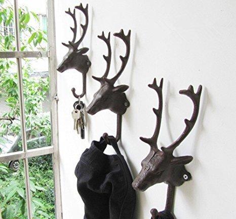 European Style Rétro Metal Deer Head Decoration Hook Coat Hook Towel Hook Industrial Hook Rustic Coat Rack Hanger A Hook Set of 2