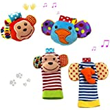 YeahiBaby 2 Pairs Baby Infant Soft Toy Animal Wrist Rattles Hands Foots Finders Developmental Toys (Monkey And Elephant)