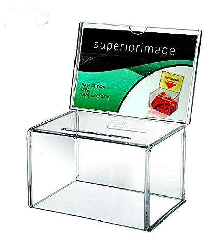Umei Lot de 2 unités d'entrée sans boîtes Plan en acrylique verrouillable pour tombola de tour, scrutin et Suggestion