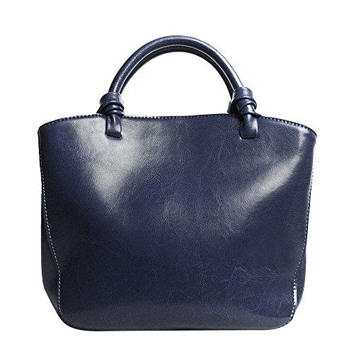 Leathario Borsa donna pelle vera tracolla rosso spalla a mano eleganti lavoro vintage cuoio fashion borsone sacca shopping weekend blu