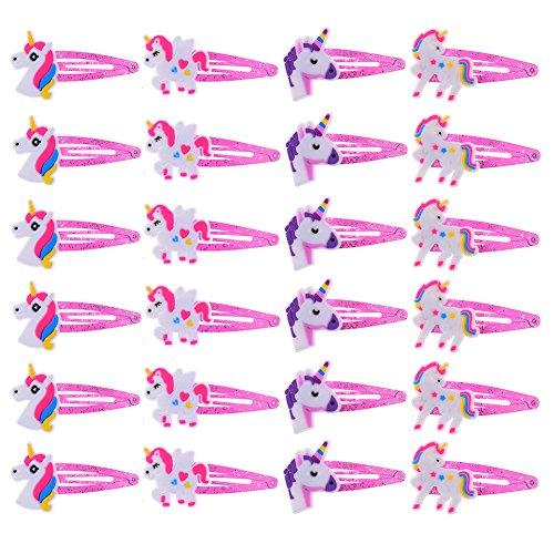 Haishell 24 Stück niedliche Einhorn-Haarspangen, Haarspangen, Kopfschmuck, Haarschmuck für Babys und kleine Mädchen