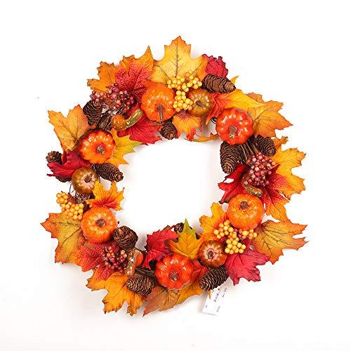 belupai K¨¹nstliche Thanksgiving Herbst Haust¨¹r Kranz Handwerk Gr¨¹n Blume Bl?tter Garland Innenwanddekor Ornamente F¨¹r Herbst (Orange) -