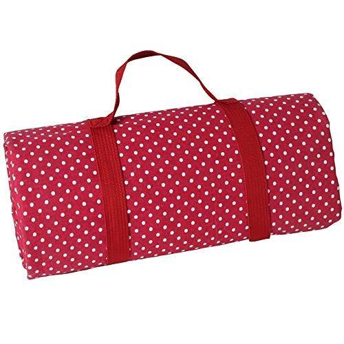 Les Jardins de la Comtesse - Rechteckige Picknickdecke XL Rot mit weißen Punkten - Picknickdecke aus Baumwolle mit wasserabweisender Rückseite/Polyester - Auch für Gartentisch - 140 x 280 cm