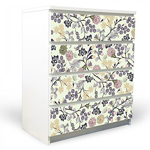 banjado YOURDEA Möbelfolie für Ikea Malm Kommode mit 4 Schubladen | Klebefolie 4-teilig ca. 80x100cm | Möbelsticker selbstklebend mit Motiv Florale Tapete (4 Floral Schubladen)