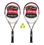 2 x Wilson Federer 110 Tennis Rackets + 3 Tennis Balls RRP £90