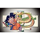 QJXX 5 Piezas/Juegos CuadrosEnLienzoPinturas De Dibujos Animados Dragon Ball Goku Super Saiyan Decoración para El Hogar Arte De La Pared (Sin Marco)