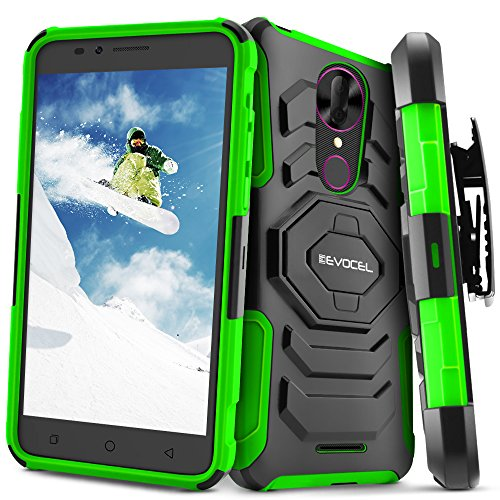 T-Mobile revvl Plus Fall, evocel [New Generation] Rugged Dual Layer Case [Ständer] [drehbarem Gürtelclip] für T-Mobile revvl Plus, grün (Celular T-mobile)