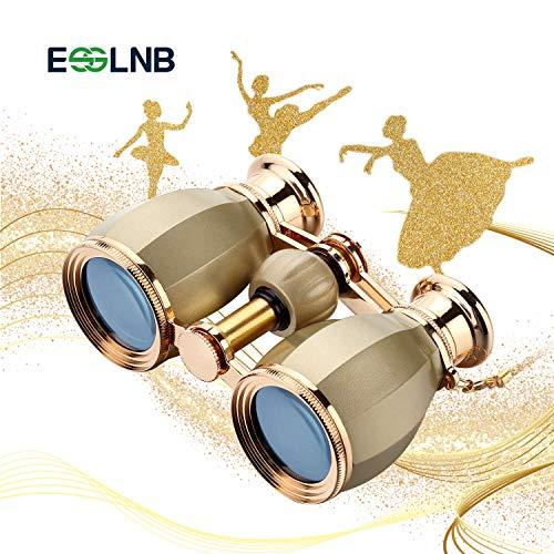 ESSLNB Prismáticos Opera 4X30 Gafas De Ópera Binoculares con Cadena y Bolso Óptico Vaso por Teatro Concierto