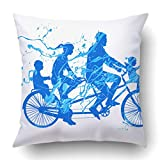 YSEFHX Federe Blue Bicycle Family Walk On Tandem Bike Splash Paint White People Boy Brother 18 x 18 Inch Square With Hidden Zipper Polyester Home Sofa Cushion Decorative Pillowcase