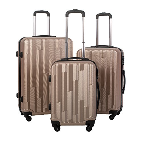 BTM Hard Shell Super Lightweight 4 Wheel Spinner Luggage Suitcase Set of 3 (20/24/28inch)Travel Trolley Case (Champagne)