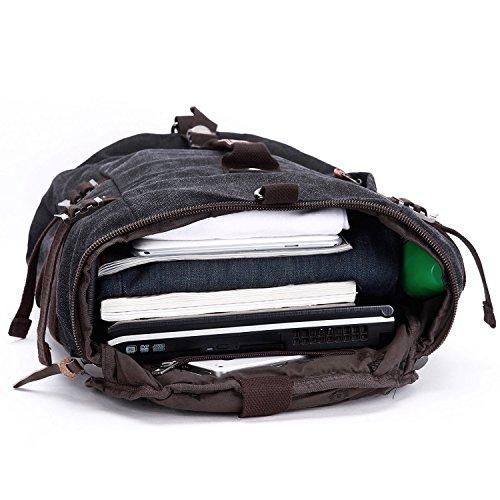 Canvas Men's Shoulder Backpack Shoulder Bag Rucksack Travel Gym Bag 2 Colours Black