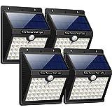 Luz Solar Jardín, iPosible Upgraded 46 LED 1800 mAh Foco Led Solar con Sensor Movimiento Lámpara Solar Exteriors Impermeable Solares de Pared de Seguridad 3 Inteligente Modos Para Patio [ 4 Paquete ]