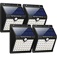 Luz Solar Jardín, iPosible Upgraded 46 LED 1800 mAh Foco Led Solar con Sensor Movimiento Lámpara Solar Exteriors Impermeable Solares de Pared de Seguridad 3 Inteligente Modos Para Patio [ 4 Paquete ]