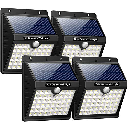 IPosible Luz Solar Jardín, Upgraded 46 LED 1800 mAh Foco Led Solar con Sensor Movimiento Lámpara Solar...