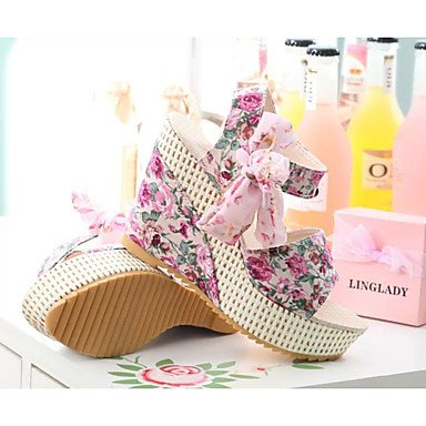 zhENfu Donna Sandali cinturino alla caviglia PU Estate outdoor casual cinturino alla caviglia Lace-up Tacco a cuneo Nero Blu arrossendo Piatto rosa Blushing Pink