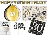 36-tlg. Partyset 30. Geburtstag Dekoset Dekobox - Girlanden, Luftballons, Servietten usw. - schwarz/gold