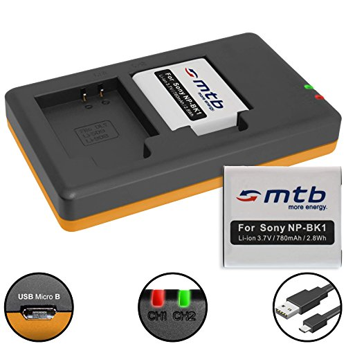 Np Bk 1 Batterie (2 Akkus + Dual-Ladegerät (USB) für NP-BK1 / Sony Bloggie MHS-PM5, CM5, Webbie PM1 / DSC-S780, S950, S980, W190, W370 … (inkl. Micro-USB-Kabel))