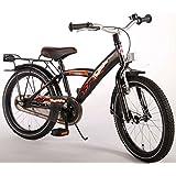 Bicicleta Niño 18 Pulgadas con Ruedas Extraíbles y Portaequipajes Trasera Satén Negro