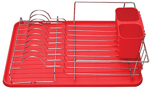 EURO HOME Deluxe Chrome Dish Drainer, Red