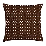 WYICPLO Modern Throw Pillow Cushion Cover, Different Sized Dots Bubble Like Forms Abstract Pattern in Contrast, Decorative Square Accent Pillow Case, 18 X 18 Inches, Dark Brown Light Pink White