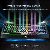 VICTSING Teclado Gaming Español USB, LED Multicolores Rainbow Retroiluminación con 12 Teclas Multimedia y 19 Teclas Anti-ghosting, Teclado Retroiluminado Español de Panel Completamente Metálico Ideal para Juegos-Negro