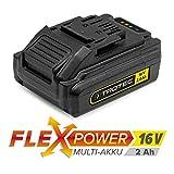 Trotec Flexpower - Batteria agli ioni di litio, 16 V, 2,0 Ah, per strumenti di potenza Trotec