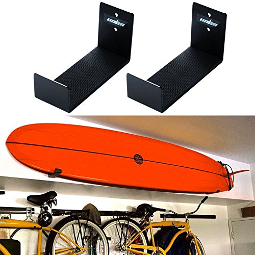 UNHO Support Mural Surf Stockage de Planche de Surf en Aluminium Support Présentoir Mur de Planche Support de Montage Pack de 2 Wall Mount Bracket Display Rack Surfboard Storage Holder NOIR