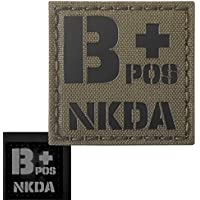 Ranger Green Infrared IR BPOS NKDA B+ Blood Type 2x2 Tactical Morale Fastener Patch
