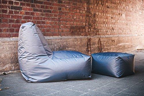 RELAXFAIR Sitzsack Outdoor XXL Wasserfest / für Kinder Jugendliche und Erwachsene / in Grau Rosa / Mit waschbarer Hülle Bezug / Couch-Liege für draußen / mit Innensack Innenhülle / Sessel mit Hocker (Sitzsack und Hocker, Grau)