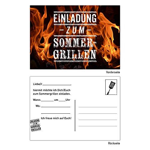 10 Einladungskarten Geburtstag BBQ Bratwurst Grillen Bier Sommer Barbecue Party Feier Grill Steak Essen